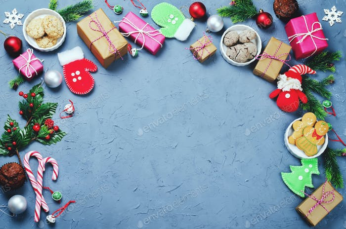Christmas background with gifts, cookies, Christmas decoration
