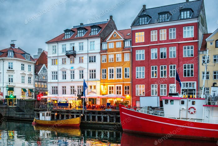 Night view of Nyhavn canal, Copenhagen