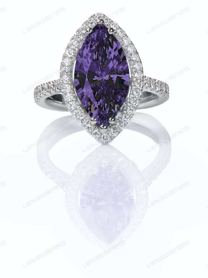 Purple Amethyst Beautiful Diamond Engagement ring. Gemstone Marquise cut