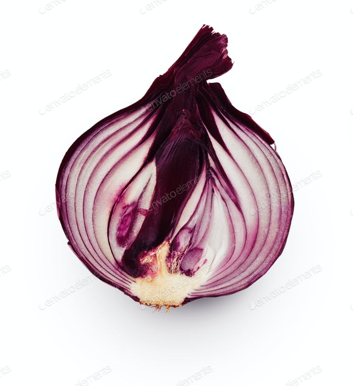 Onion bulb half isolated on white background