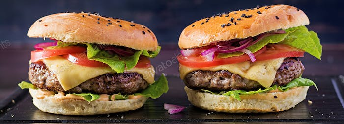 Big sandwich - hamburger burger with beef,  tomato,  cheese and