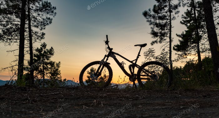 Mountain bike sunset silhouette on forest trail, inspiring lands