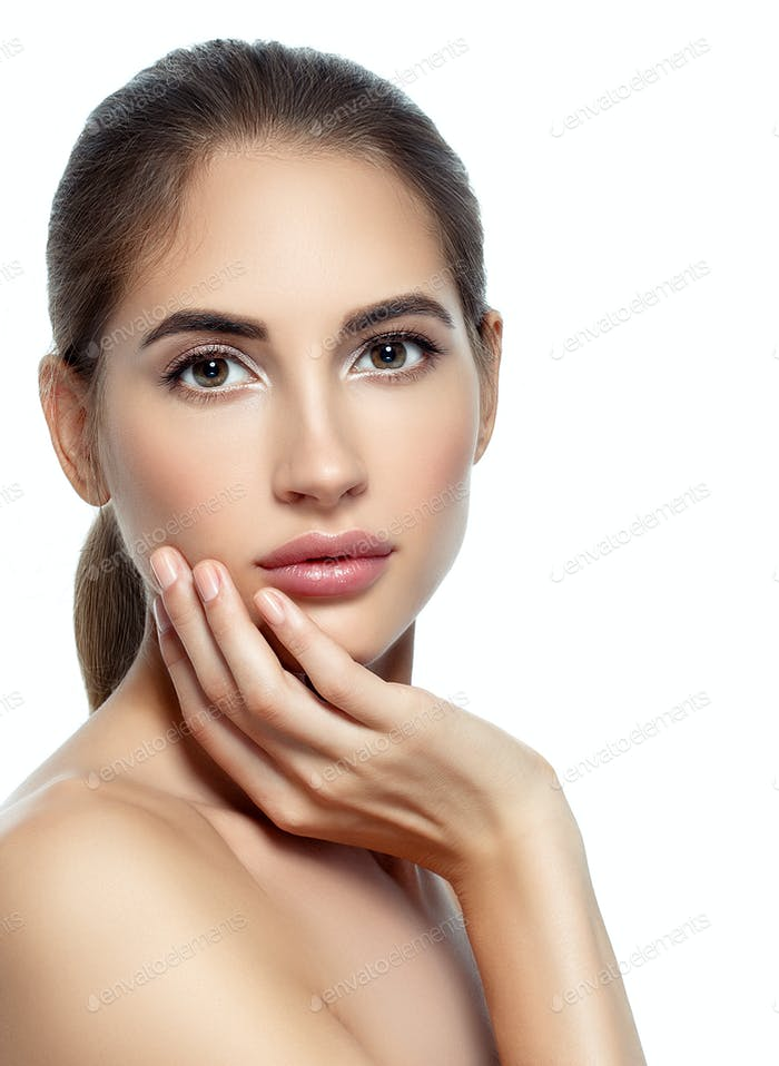 Beautiful woman withnatural make up casual dayly cosmetic skin care