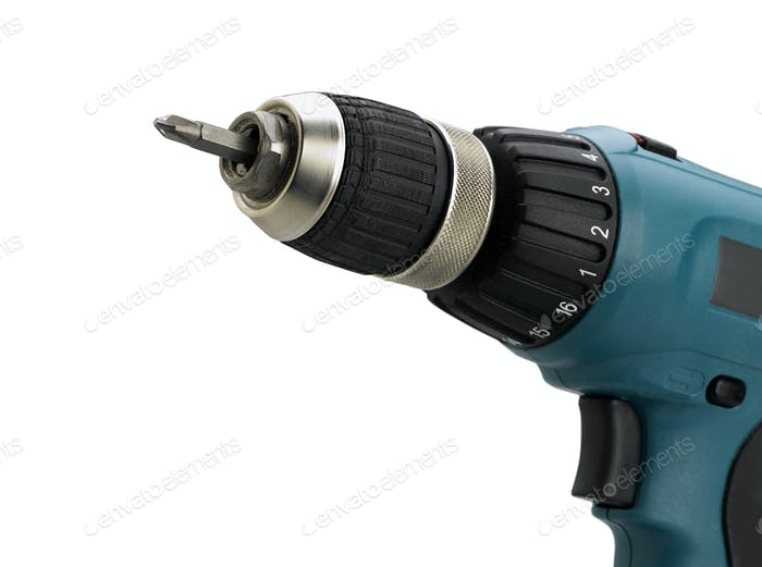 Closeup of electric screwdriver on white (clipping path)