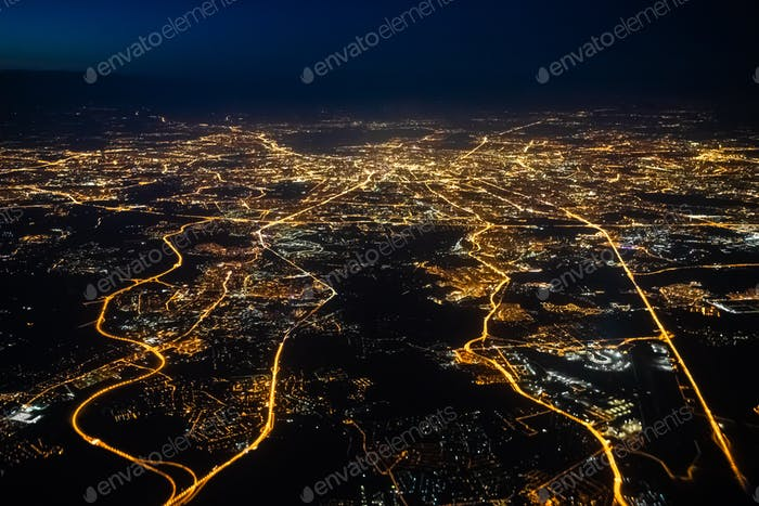 Aerial view of a city of Moscow at night. City of Moscow picture made from airplane