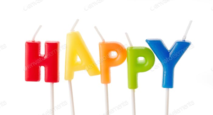 the word happy made of anniversary candles