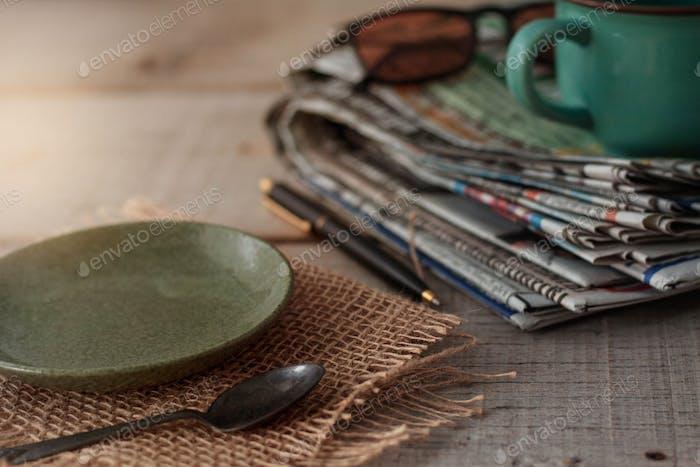 Plates on wooden floor