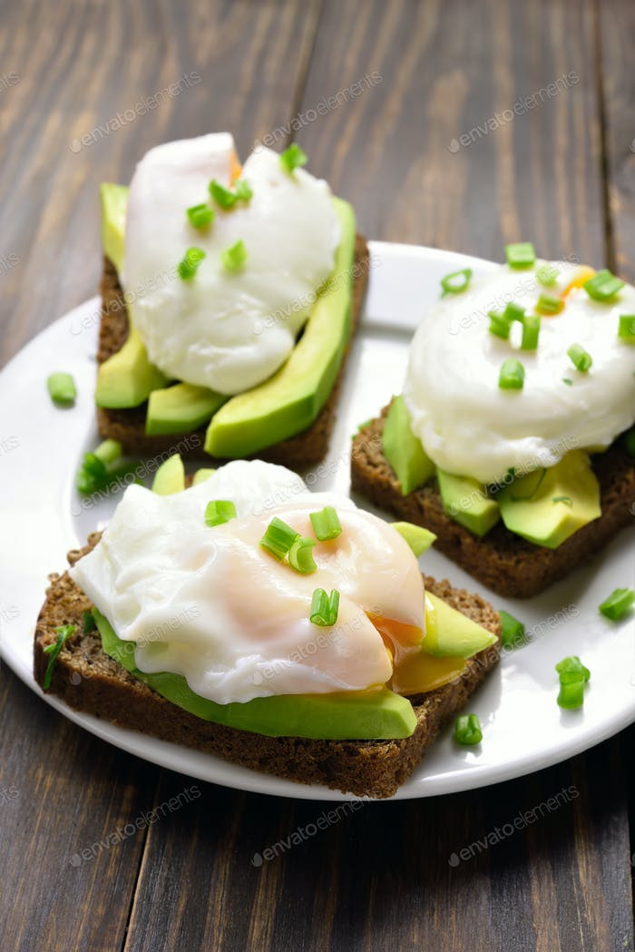 Poached eggs and avocado on bread