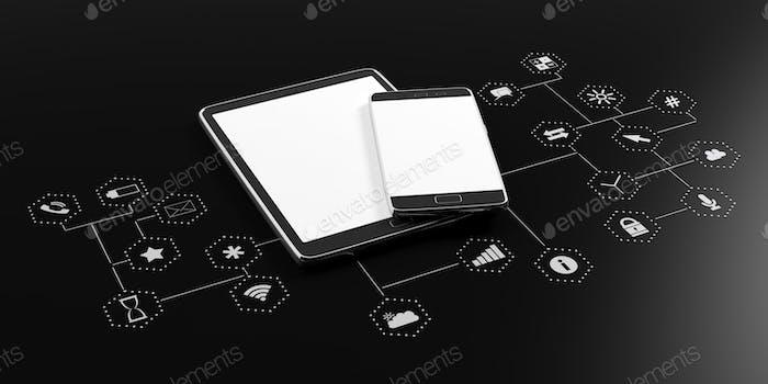 Smartphone, Tablet mit leerem Bildschirm auf schwarzem Hintergrund mit app Icons. 3D Illustration