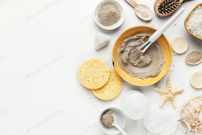 Preparing natural cosmetic mask in ceramic bowl