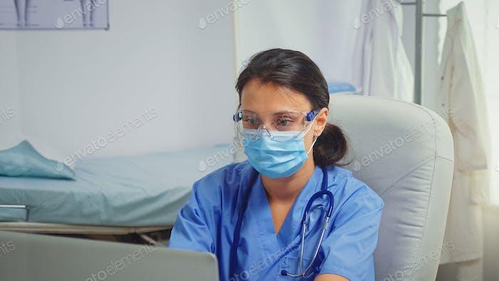 Paramedic wearing protection mask