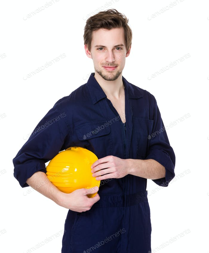 Construction worker hold with helmet