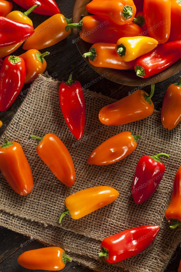 Group of Organic Colorful Hot Peppers