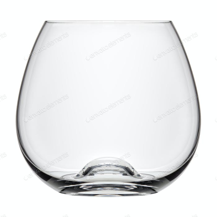 Single empty cognac glass