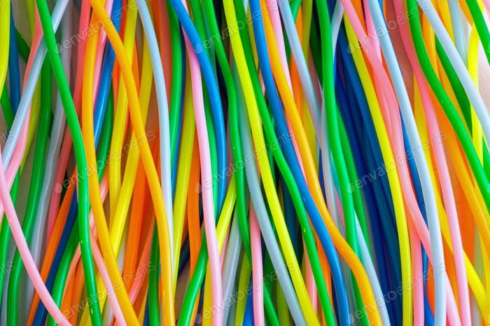 Colourful plastic toy cables