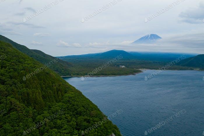 Mountain Fuji in Japan with cloud