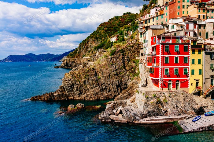 View of the village Riomaggiore. Cinque Terre National Park, Liguria Italy.