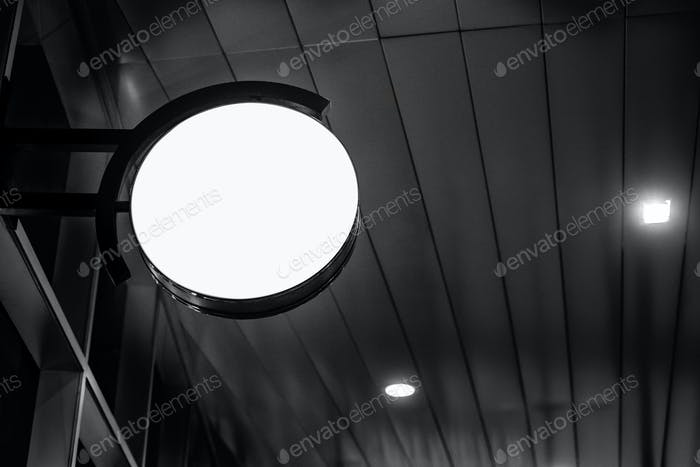 circle advertising light box on the night street and Clipping pa