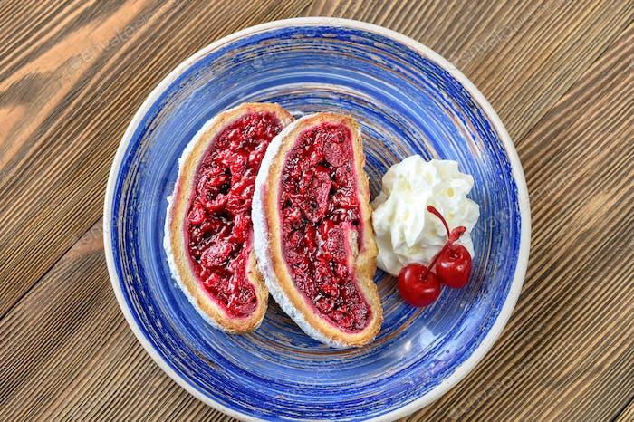 Slices of cherry strudel