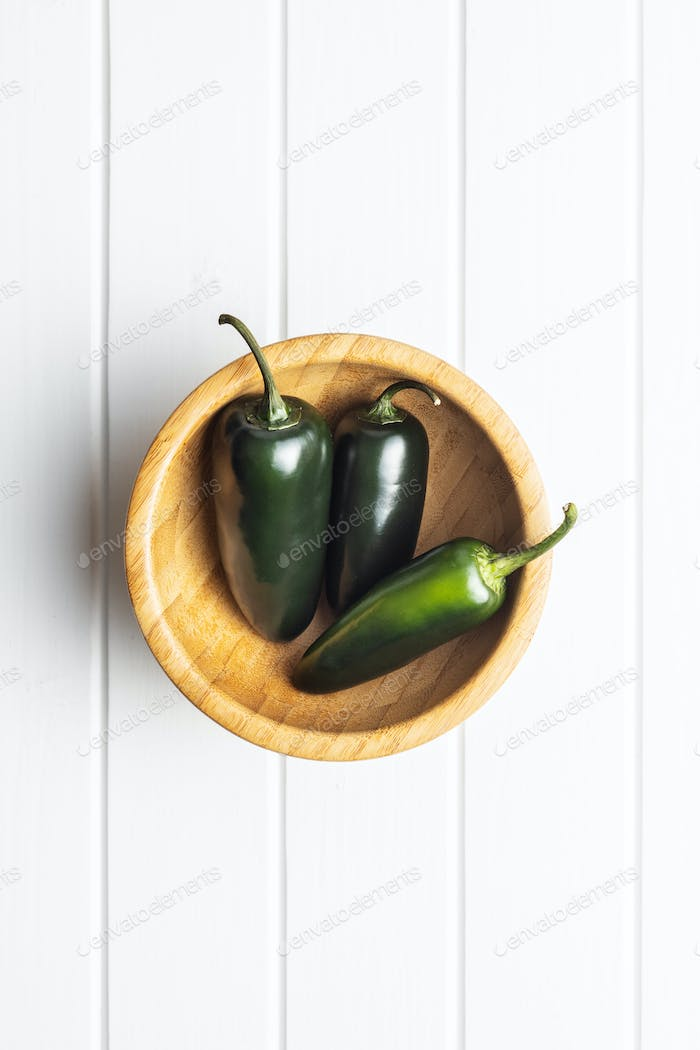 Green jalapeno peppers.