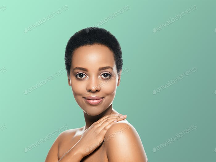 Black skin beauty woman healthy hair skin close afro american beautiful model with hands. On blue.