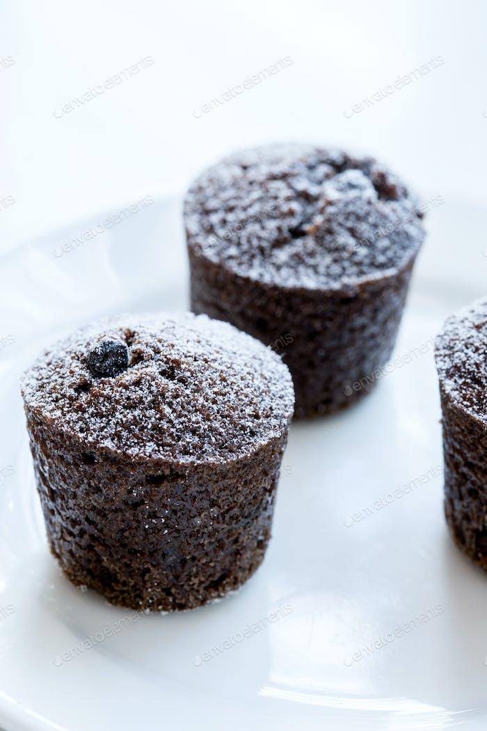 Individual chocolate cakes with powdered sugar
