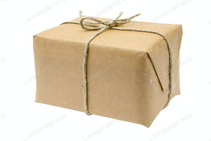 Brown Parcel Isolated on a White Background