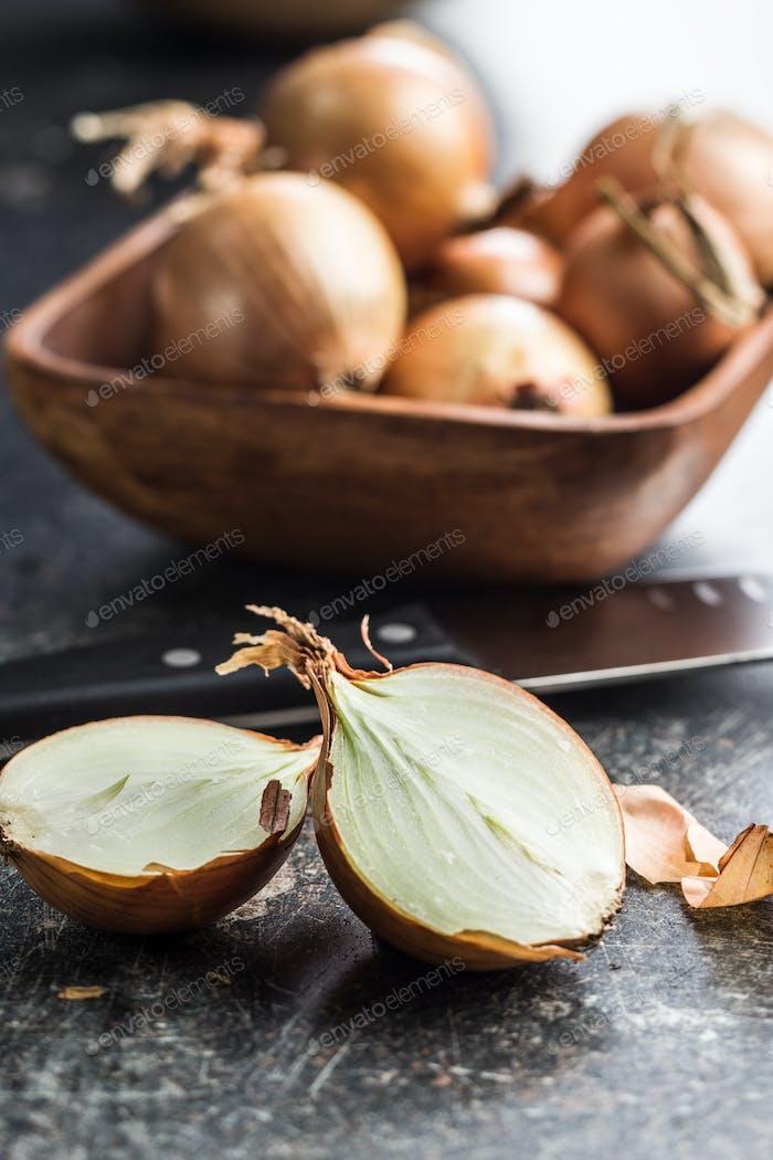 Halved onion bulbs.