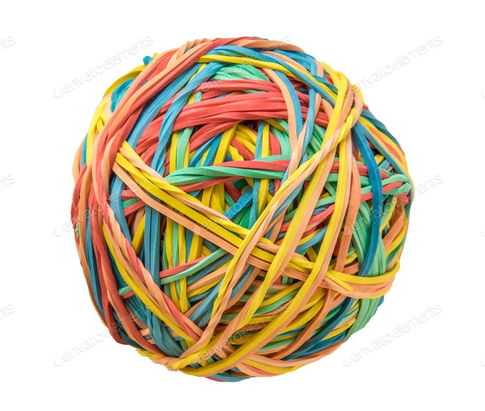 Isolated Rubber Band Ball