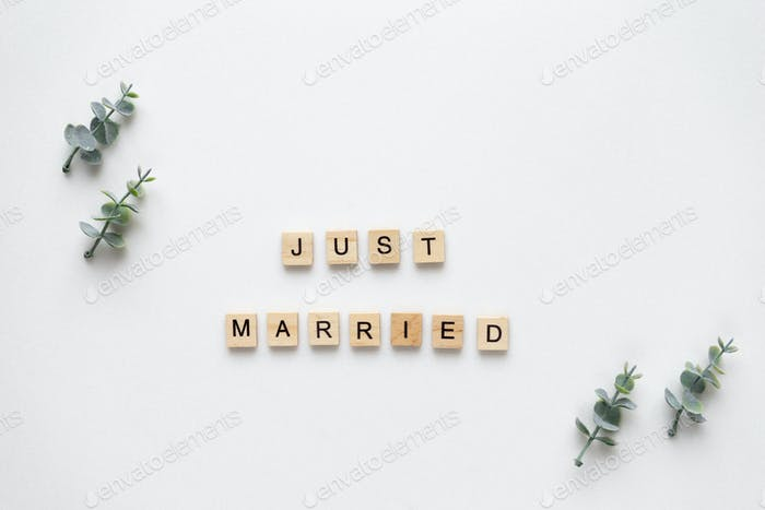Wooden letters  speling just married with oregano branches on wh