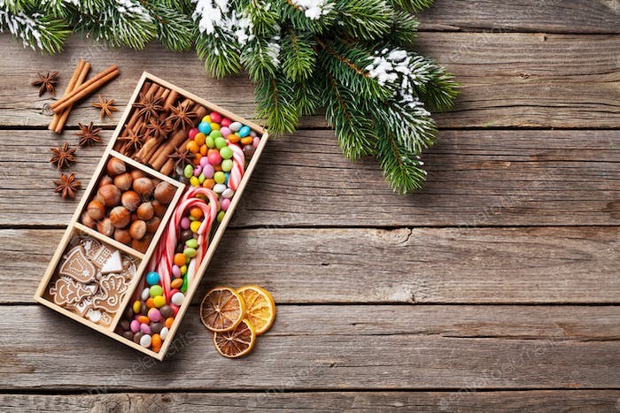 Christmas food decor and gingerbread cookies