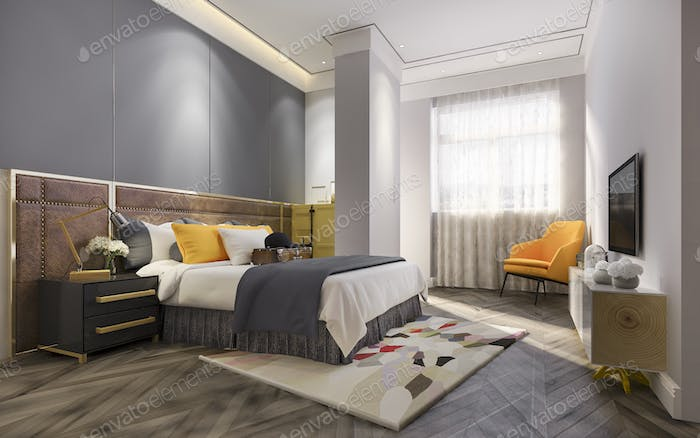 3d rendering modern yellow luxury bedroom with vintage style