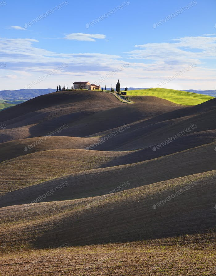 Tuscany, rural  landscape. Rolling hills, countryside farm, trees. Siena, Italy.