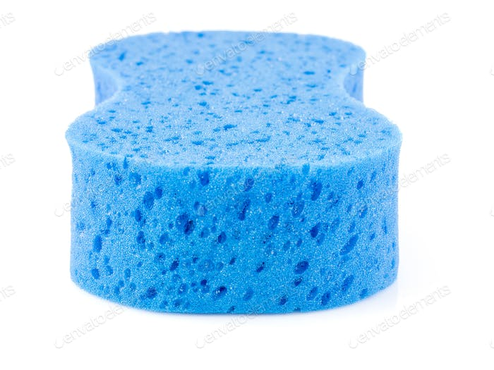 Blue sponge on white-4