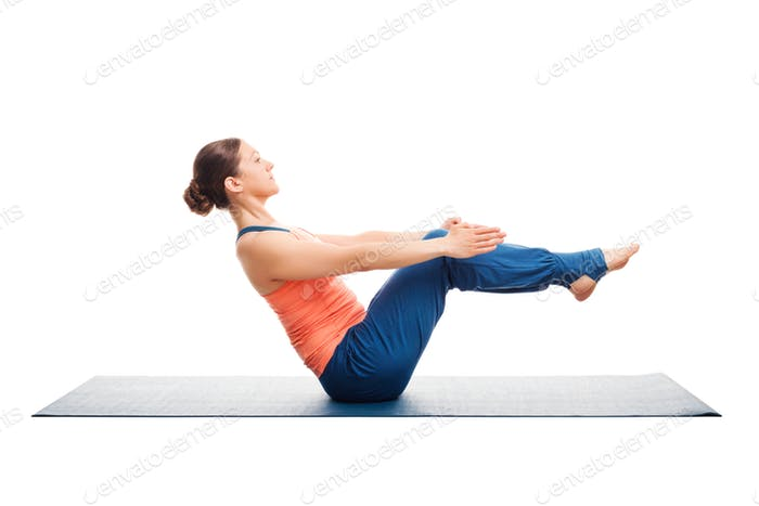 Sportlich fit Frau tun Ashtanga Vinyasa Yoga Asana Paripurna nav