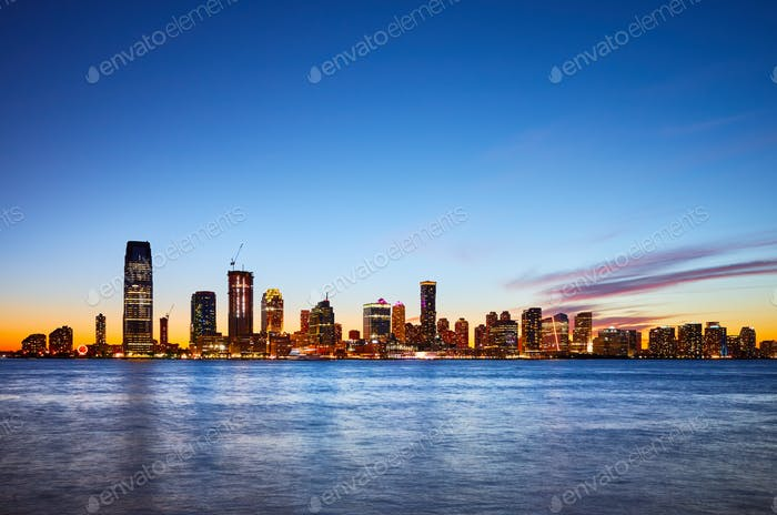 Jersey City skyline at sunset, USA
