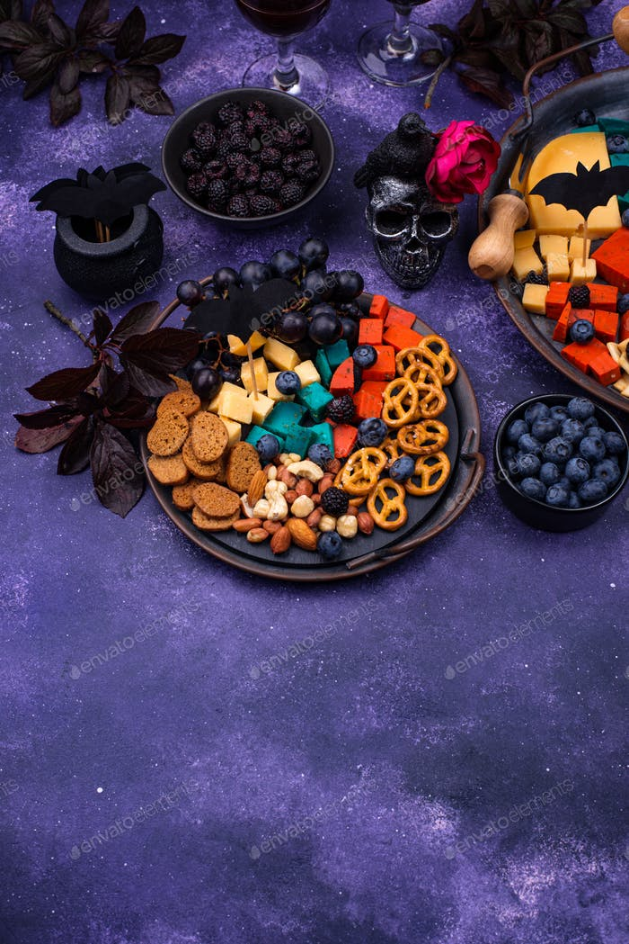 Halloween cheeseboard with blue and red cheese