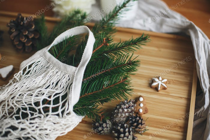 Reusable shopping bag and wooden winter decorations