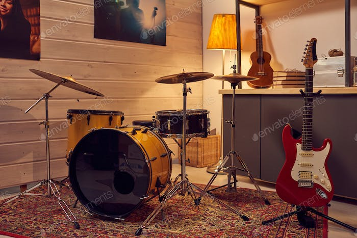 Studio with musical instruments