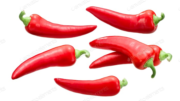 Red chile peppers c. annuum, paths