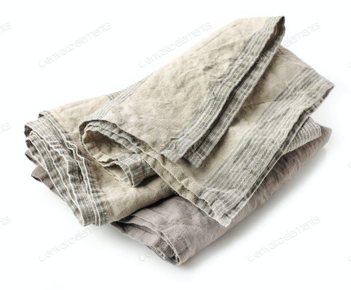 linen napkin on white background