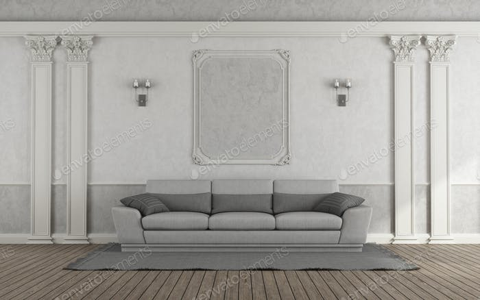 White Living room with gray sofa in classic style and Corinthian pilaster on wall- 3d rendering