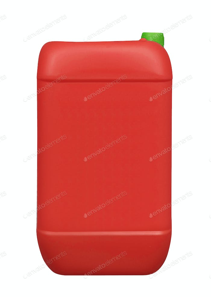 Red plastic gallon, jerry can isolated on a white background