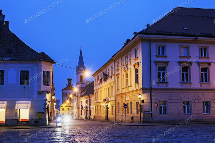Zagreb old town streets at night