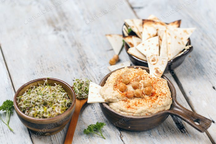 Bowl of homemade hummus