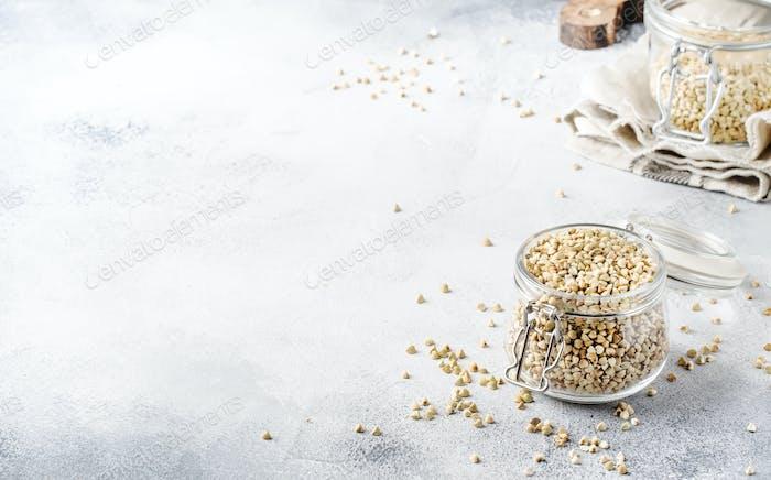 Uncooked green buckwheat groat