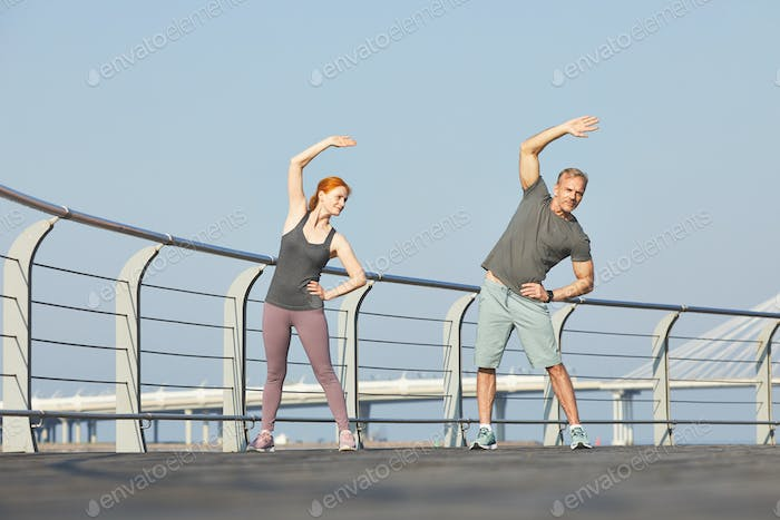 Doing side bend with husband
