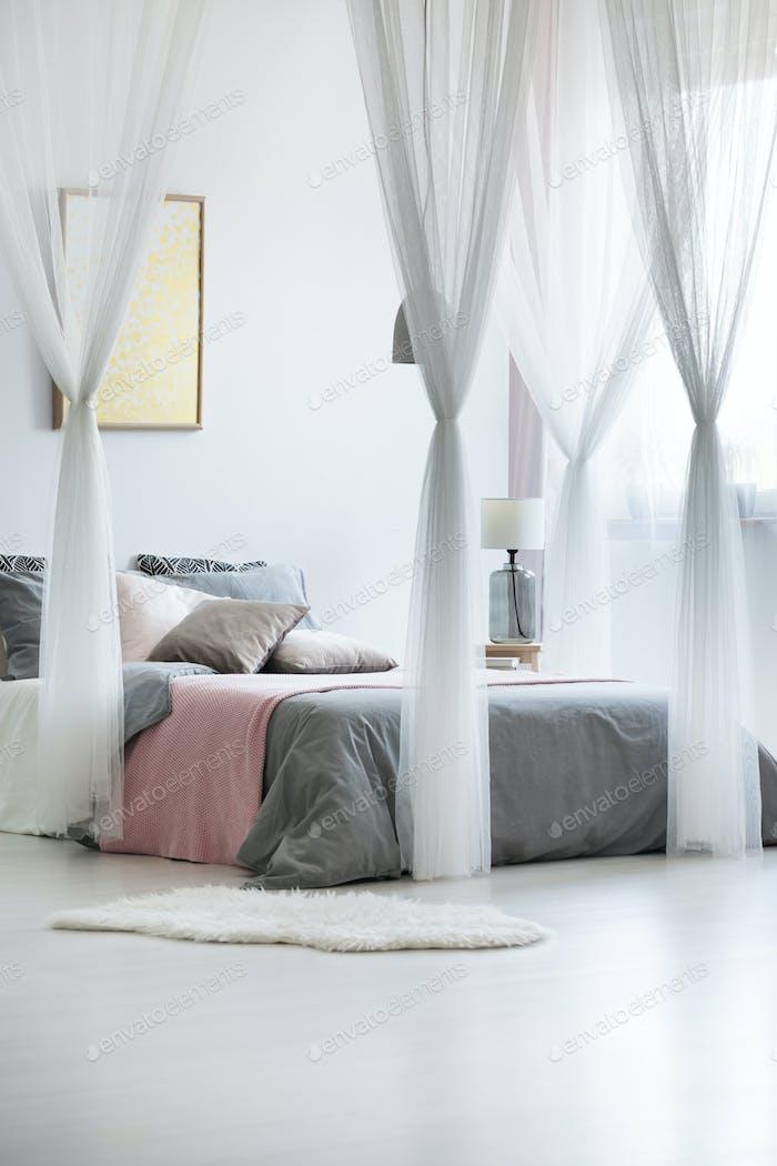 Canopy drapes in calm interior