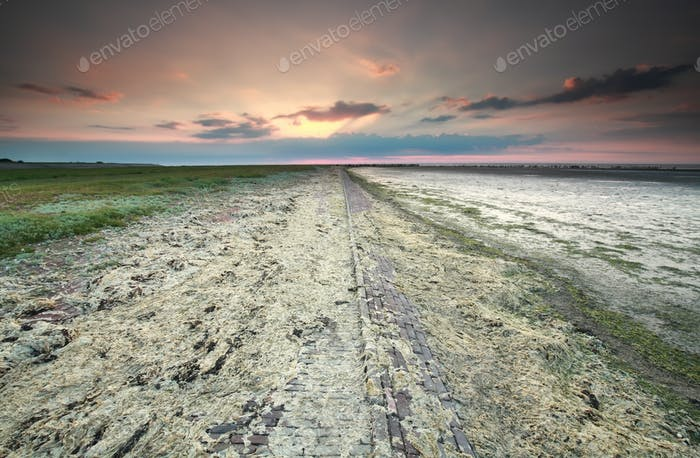 coast after storm by Wadden sea