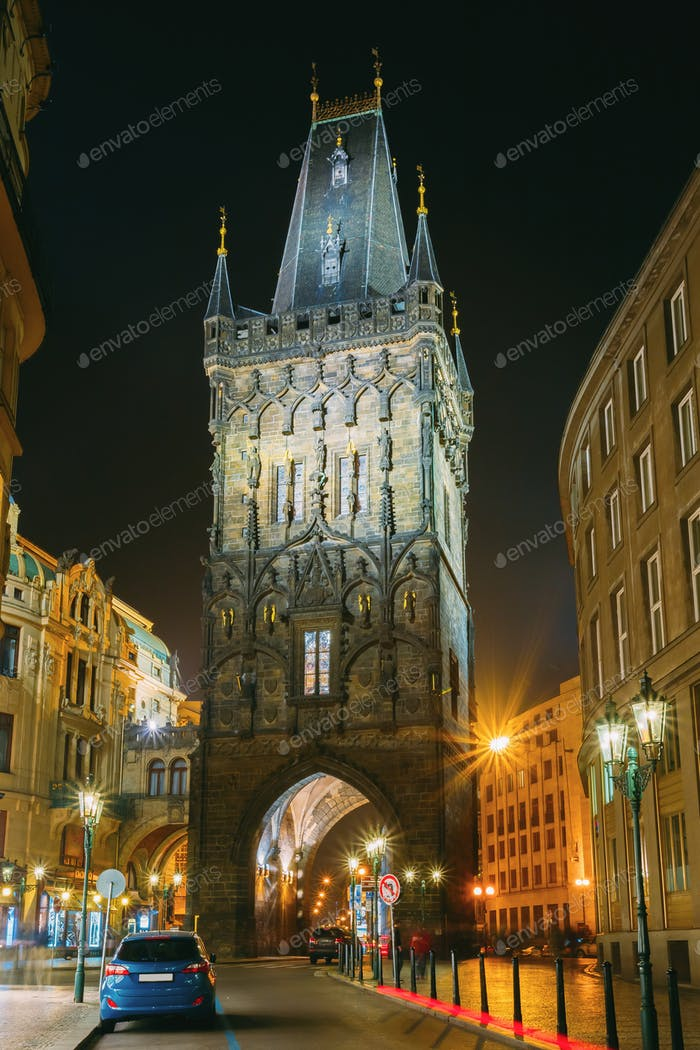 Prague, Czech Republic. Night View Of The Powder Tower Or Powder